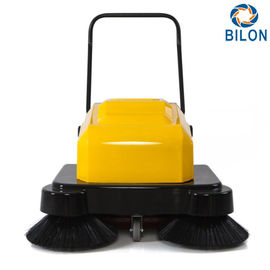 Yellow 120W Walk Behind Power Sweeper  /  Hand Push Floor Sweeper