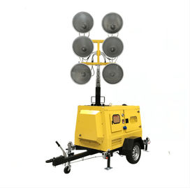 China Hydraulic Lifting Mobile Light Tower , IP54 6*1000W Metal Halide Lamp distributor