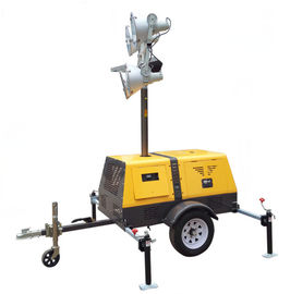 China 4 x 1000 Watt Gasoline Or Diesel Trailer Mounted Light Towers Elevating Height 1800-9000mm distributor