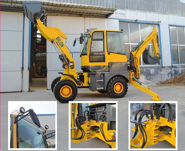 4x4 Small Backhoe Loader With Adjustable Seat / Stable Performance