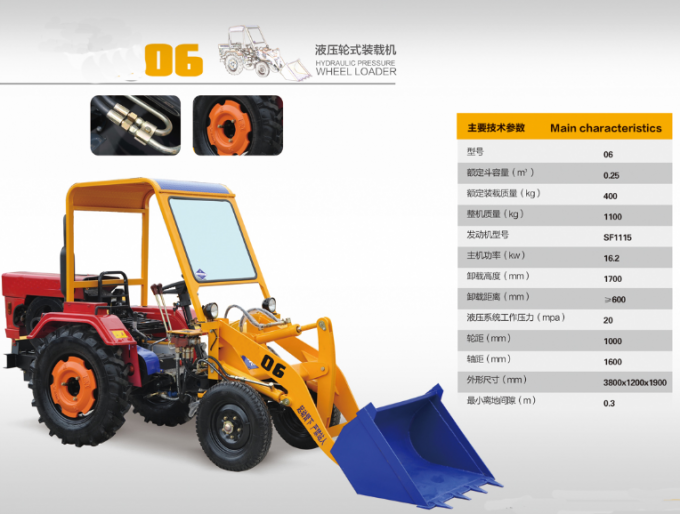 High Efficiency 400kg Mini Wheel Loader / Earthwork Construction Machinery
